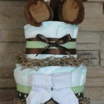 Baby Bear Diaper Cake Boy or Girl gift baby shower new mom gift baby gift